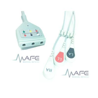CABLE ECG DE UNA PIEZA 3 DERIVACIONES COMPATIBLE CON DATEX, CONECTOR REDONDO HEMBRA 10 PINES 5 MUESCAS 1 GUÍA (MC013-3D-S5)