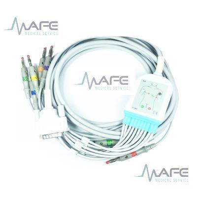CABLE ECG DE UNA PIEZA 10 DERIVACIONES COMPATIBLE CON SCHILLER. CONECTOR DE 15 PINES (2540S-N)